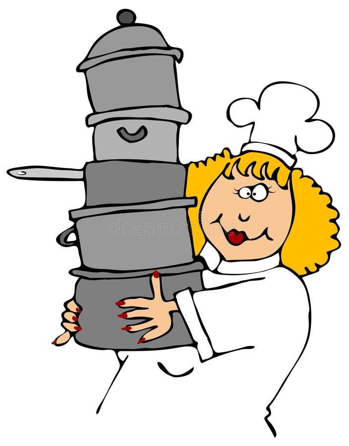Potenciômetros carreg do cozinheiro chefe ilustração stock