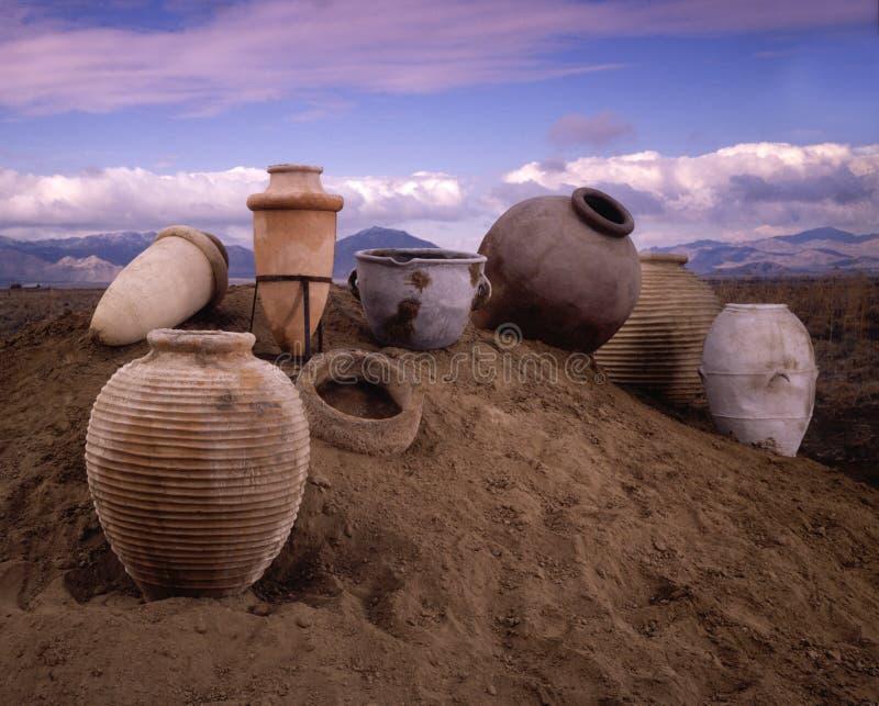 Potenciômetros de argila fotografia de stock