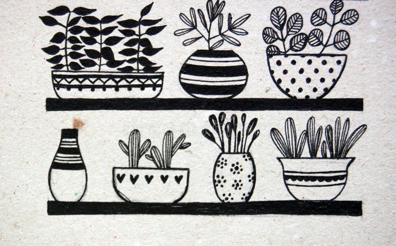 Potenciômetros de flor com plantas ilustração do vetor