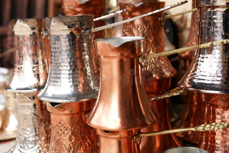 Potenciômetros do café turco fotos de stock royalty free