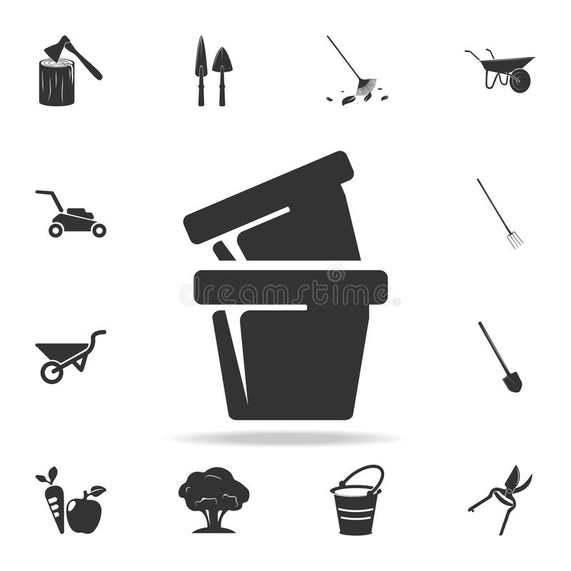 potenciômetros para o ícone das plantas Grupo detalhado de ferramentas de jardim e de ícones da agricultura Projeto gráfico da qu ilustração stock