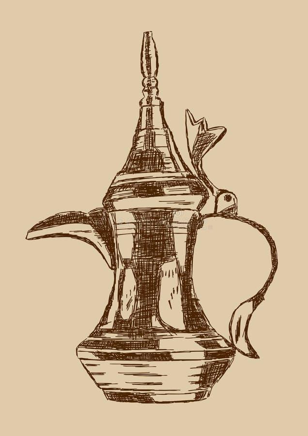 Potenciômetro árabe tirado mão do café do estilo antigo - ilustração do vetor ilustração do vetor
