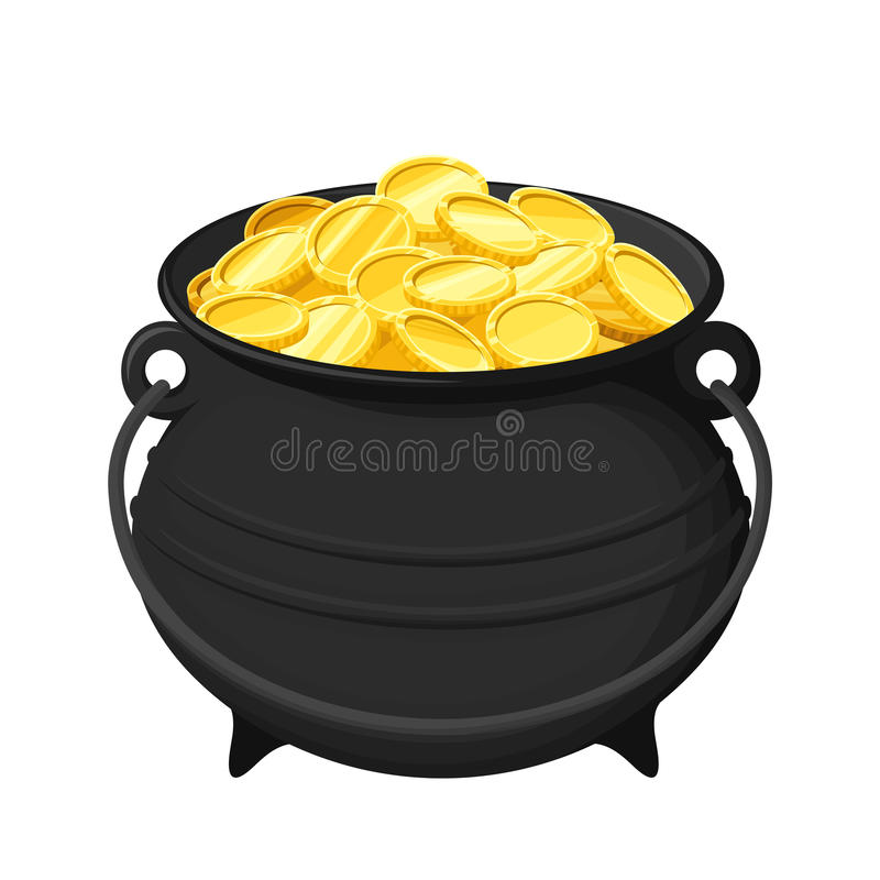 Potenciômetro das moedas de ouro isoladas no branco Ilustração do vetor ilustração do vetor