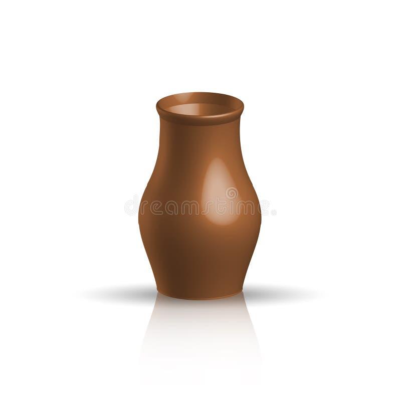 Potenciômetro de argila realístico, cor marrom ilustração stock