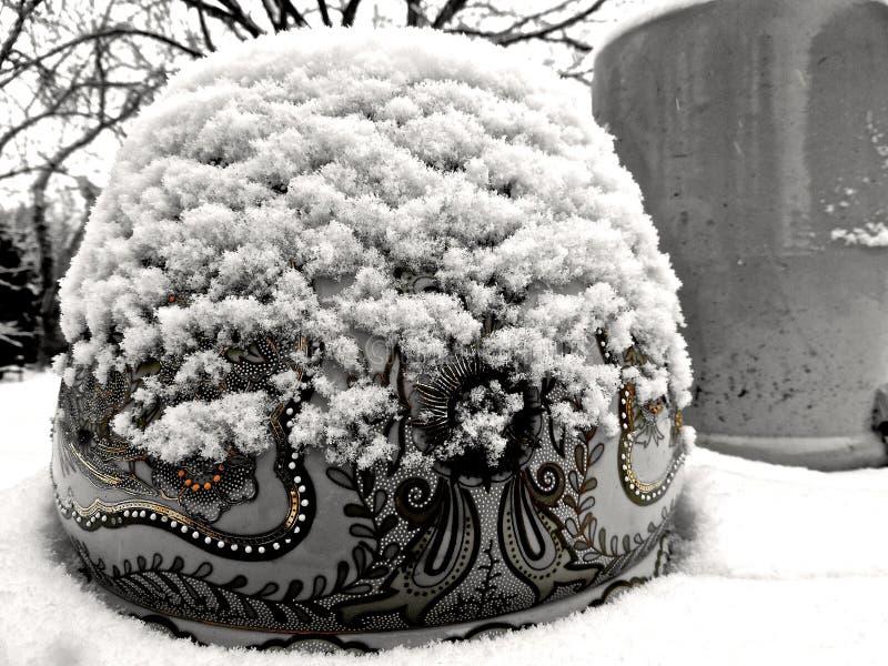 Potenciômetro de ouro bloqueado pela neve fotografia de stock