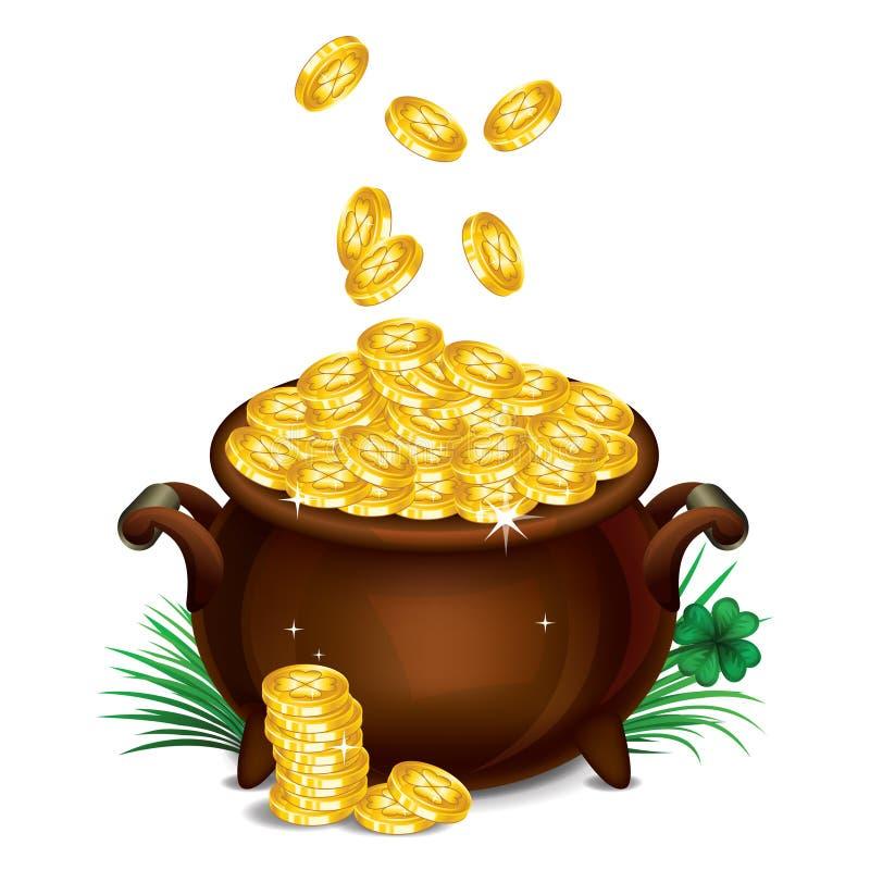 Potenciômetro de ouro, tesouro mágico, símbolo do dia de St Patrick Vetor ilustração do vetor