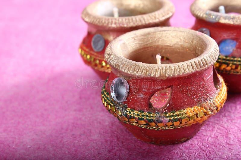 Potenciômetro decorativo indiano da vela fotos de stock