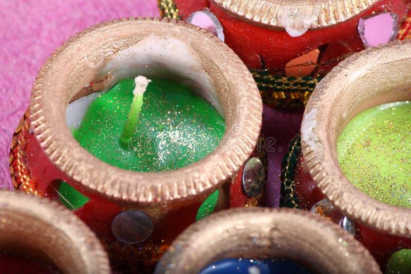 Potenciômetro decorativo indiano da vela fotos de stock royalty free