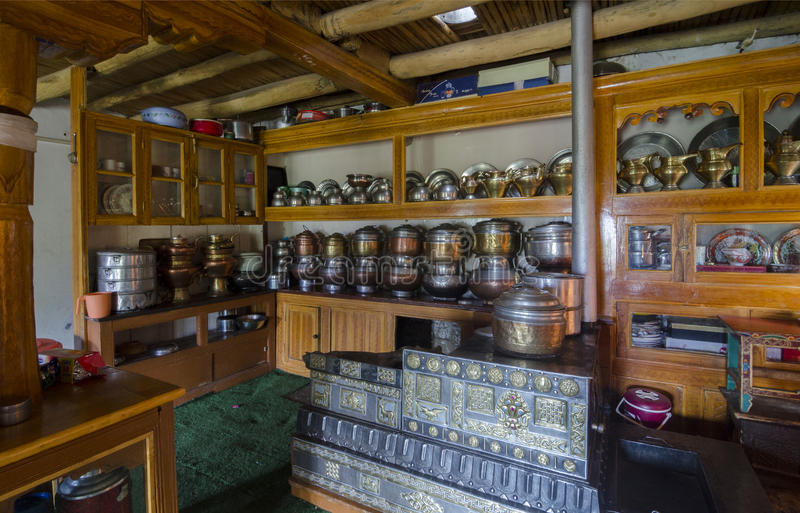 Potenciômetro do chá de Ladakhi foto de stock