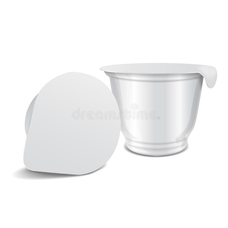 Potenciômetro plástico lustroso branco redondo do vetor com tampa da folha para o iogurte, o creme, a sobremesa ou o doce dos pro ilustração royalty free