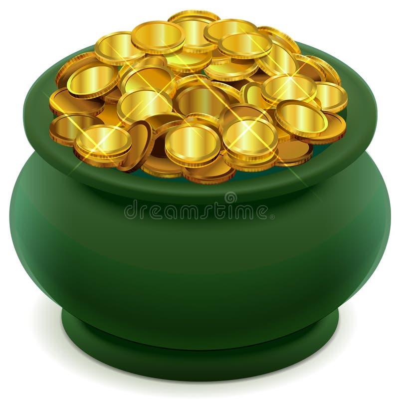 Potenciômetro verde completamente de moedas de ouro ilustração do vetor