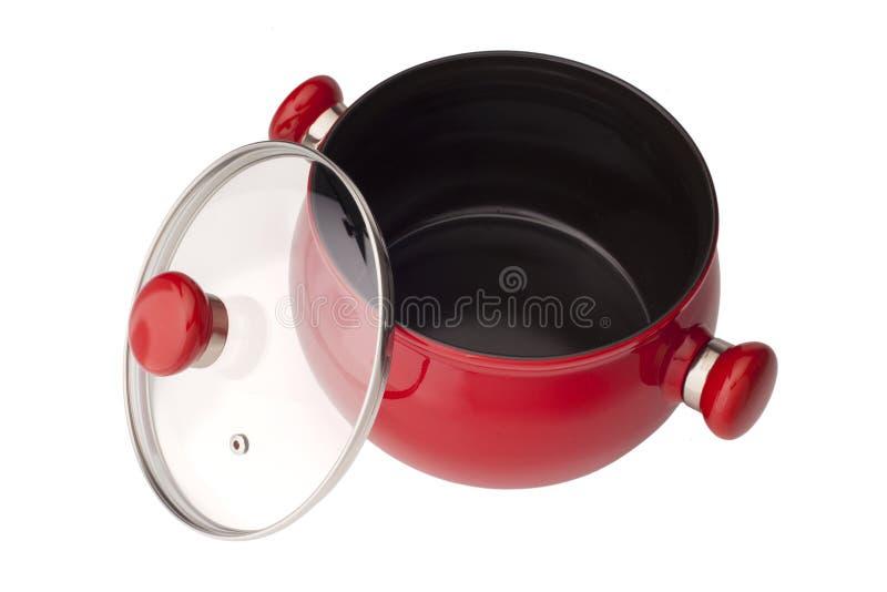 Potenciômetro vermelho com a tampa, isolada no fundo branco imagem de stock royalty free