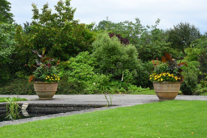 Potenciômetros de flor & beiras, jardim de Tintinhull, Somerset, Inglaterra, Reino Unido foto de stock royalty free