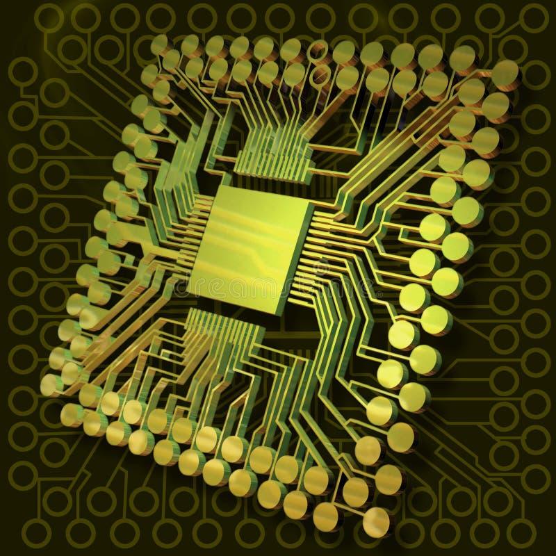 Potencia de cerebro virtual II ilustración del vector