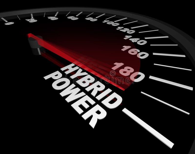 Potencia híbrida - velocímetro stock de ilustración