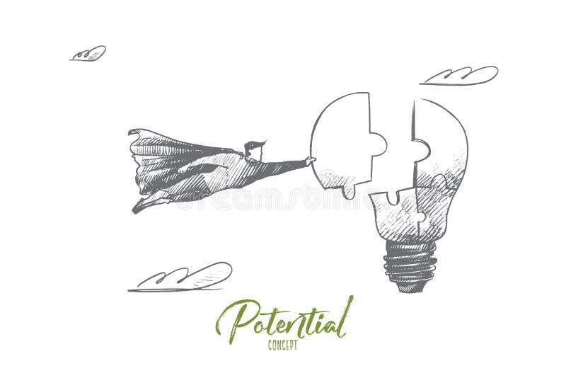 Potencial begrepp Hand dragen isolerad vektor royaltyfri illustrationer
