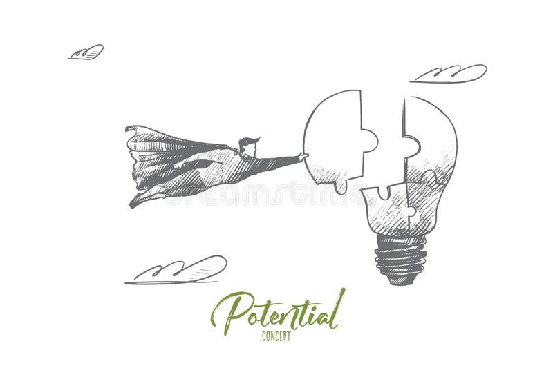 Potencial concept. Hand drawn isolated vector. Potential concept. Hand drawn superhero with piece of light bulb as symbol of prospects for success. Flying hero royalty free illustration