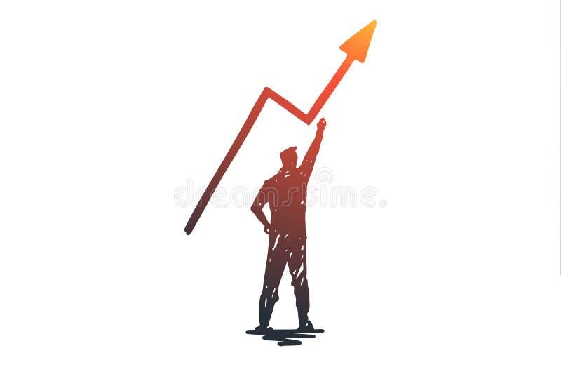 Potencjał, biznes, sukces, ryzyko, motywaci pojęcie Ręka rysujący odosobniony wektor ilustracji