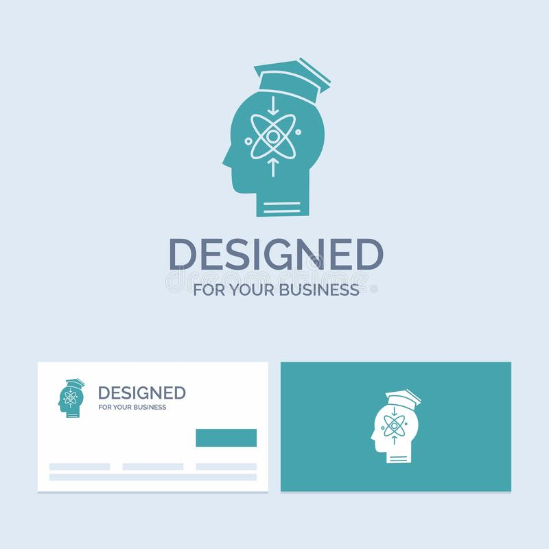 potencjał, głowa, istota ludzka, wiedza, umiejętność logo glifu ikony Biznesowy symbol dla twój biznesu Turkusowe wizyt?wki z gat ilustracji