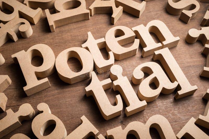 Potencjalny Drewniany słowo zdjęcie stock