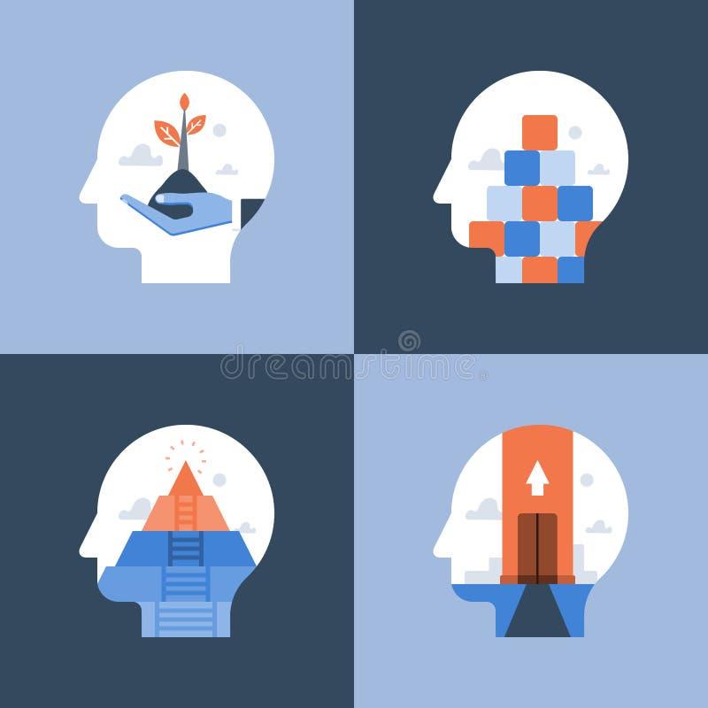 Potencjalny rozwój, wzrostowy mindset, główkowanie, psychologia lub psychiatria, krytyczny lub pozytywny, royalty ilustracja