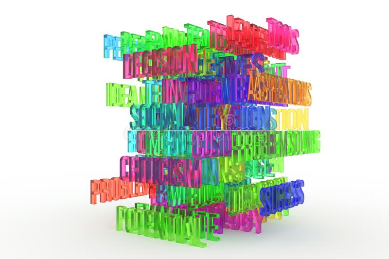 Potential, business conceptual colorful 3D rendered words. Message, artwork, caption & wallpaper. Potential, business conceptual colorful 3D rendered words royalty free illustration