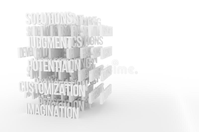 Potential, Imagination, business conceptual gray or black and white B&W 3D rendered words. Background abstract CGI typography, good for design vector illustration