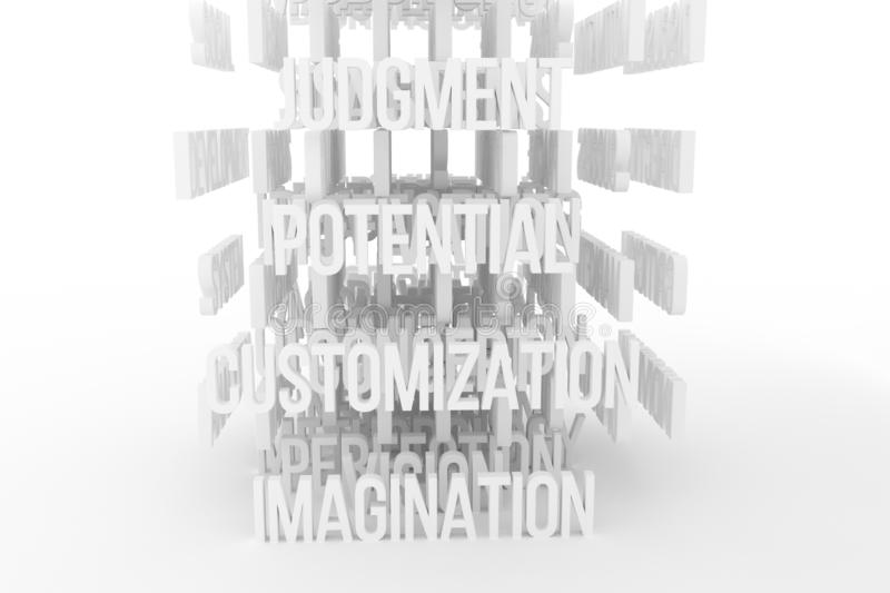 Potential, Imagination, business conceptual gray or black and white B&W 3D rendered words. Decorative, illustrations CGI typography. Good for design texture royalty free illustration