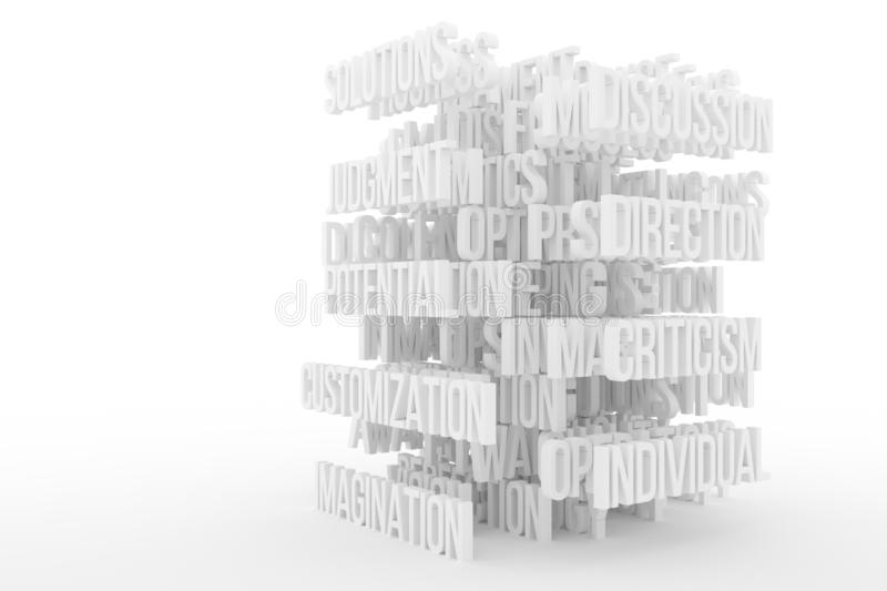 Potential, Imagination, business conceptual gray or black and white B&W 3D rendered words. Decorative, illustrations CGI typography. Good for design texture vector illustration