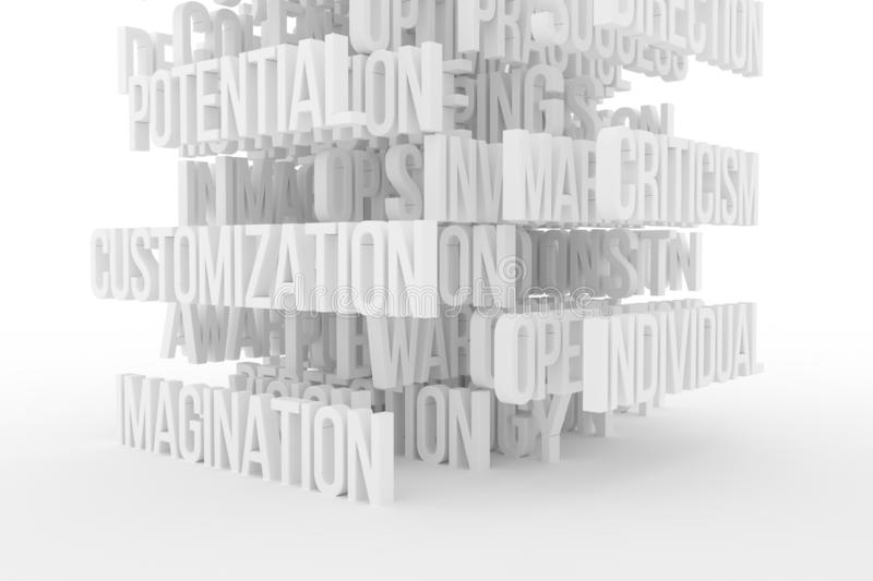 Potential, Imagination, business conceptual gray or black and white B&W 3D rendered words. Design, style, caption & alphabet. Potential, Imagination, business stock illustration