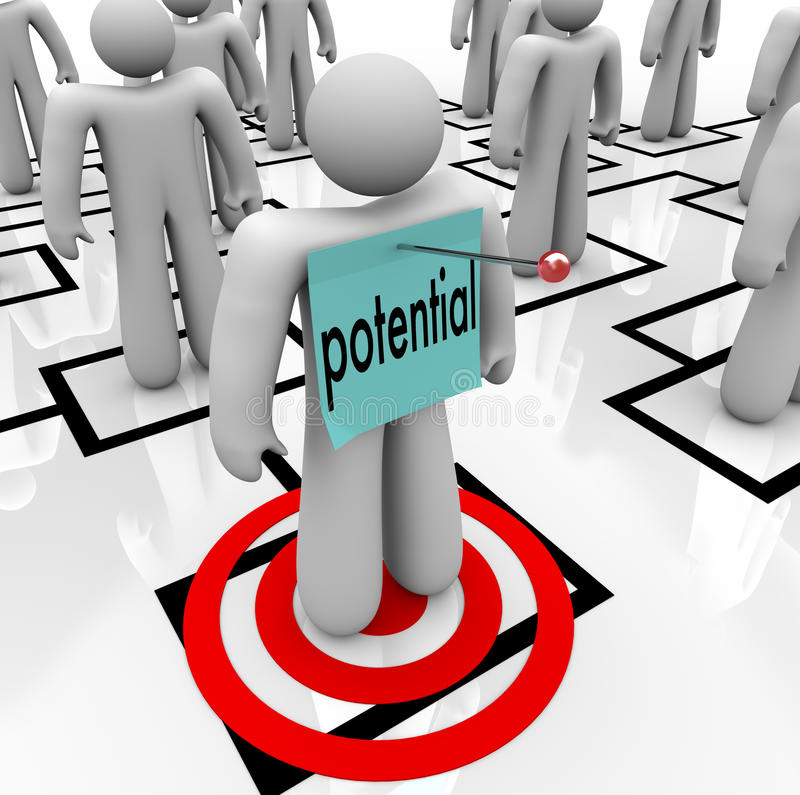 Potential Word Targeted Employee Possible Management Trainee. Potential word pinned to a targeted employee on an organizational chart to illustrate an employee vector illustration