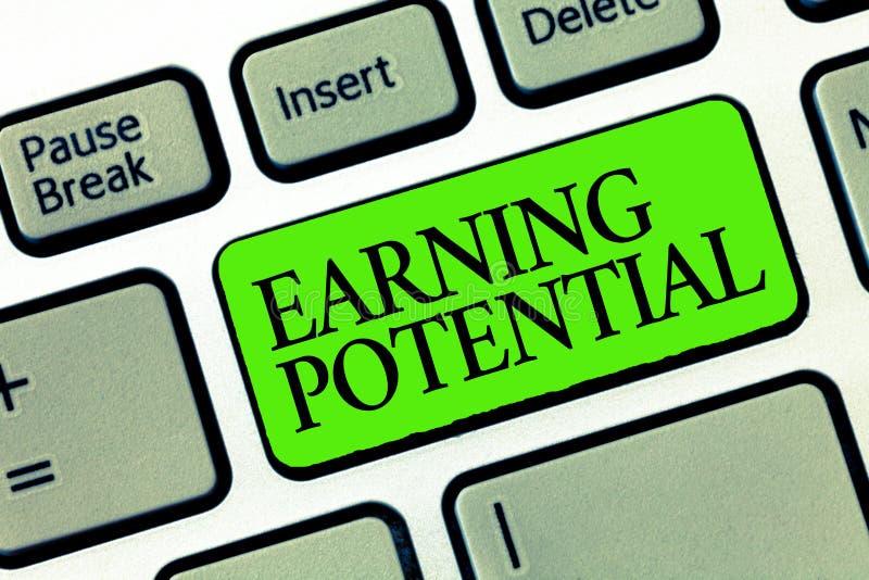 Potentiel de revenu des textes d'écriture de Word Concept d'affaires pour le salaire supérieur pour un champ particulier ou un tr photographie stock
