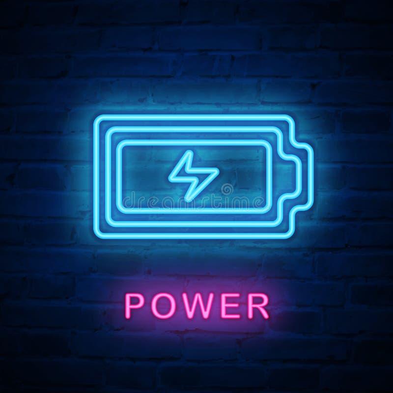 Potenza della batteria leggera al neon illuminata vettore del segno dell'icona illustrazione di stock