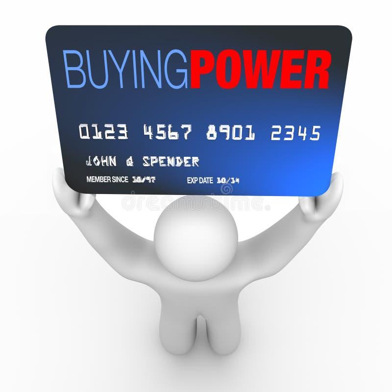 Potenza di acquisto - carta di credito della holding della persona illustrazione di stock