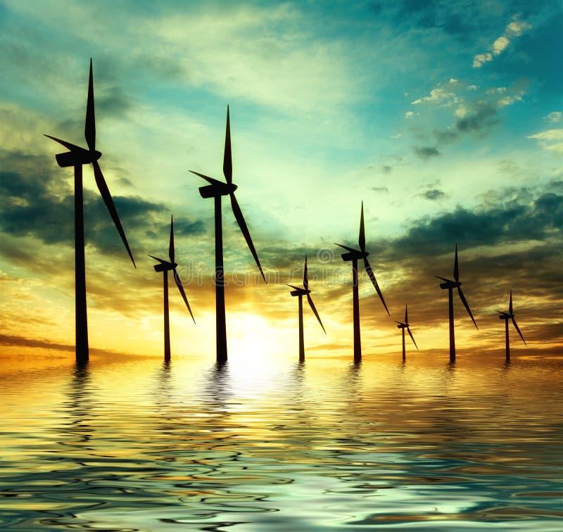 Potenza di Eco, turbine di vento immagine stock libera da diritti
