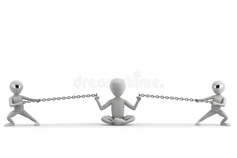 Potenza di energia della meditazione. immagine 3d. illustrazione vettoriale