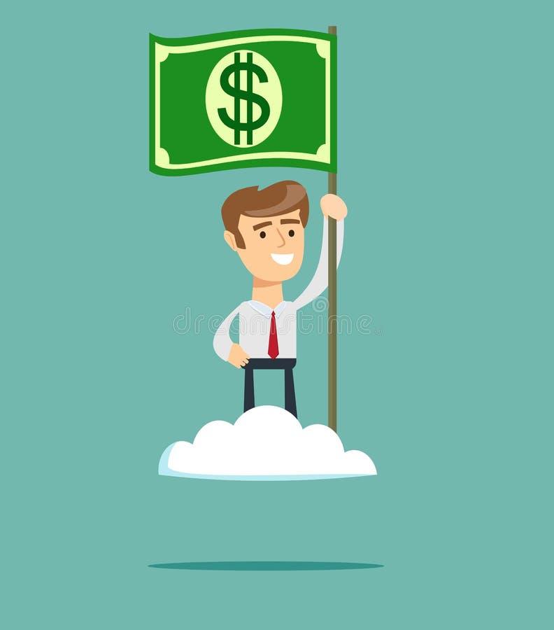 Potenza di soldi Uomo fiero che alza una bandiera del dollaro sulla nuvola illustrazione vettoriale