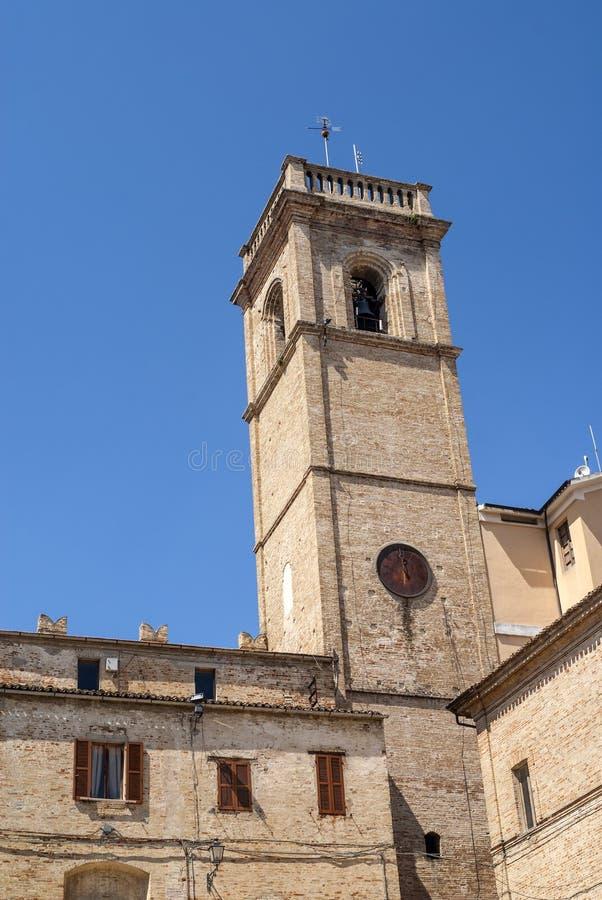 Potenza Picena -古老塔 免版税图库摄影