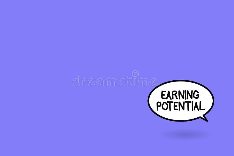 Potenziale dei guadagni del testo di scrittura di parola Concetto di affari per lo stipendio superiore per un campo particolare o royalty illustrazione gratis