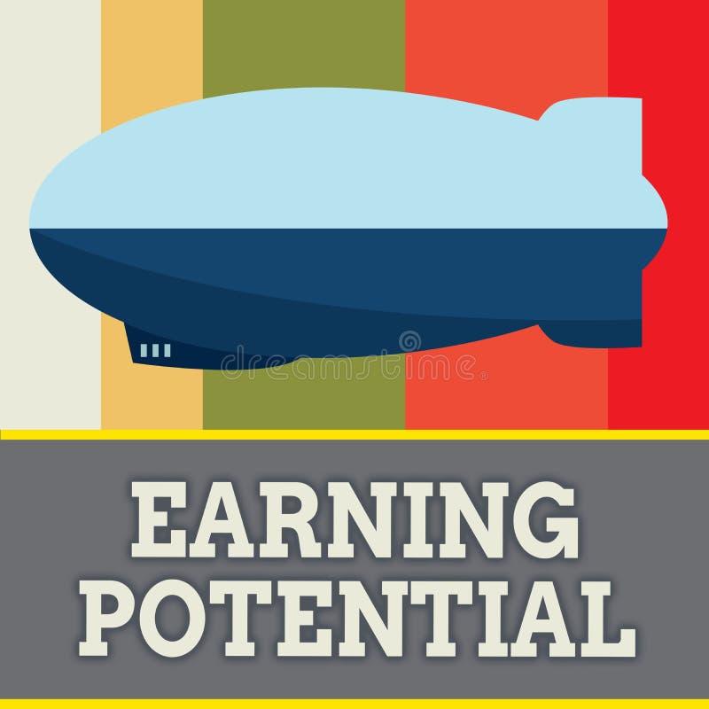 Potenziale dei guadagni del testo di scrittura di parola Concetto di affari per lo stipendio superiore per un campo particolare o illustrazione vettoriale