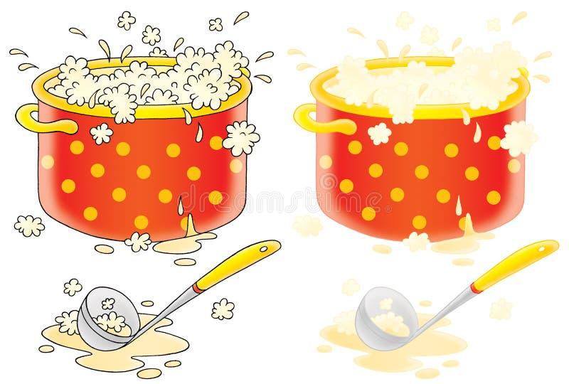 Potenziometer mit dem Kochen der Suppe und des Schöpflöffels stock abbildung