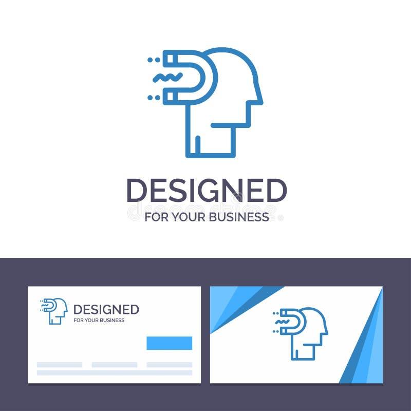 Potere del modello creativo di logo e del biglietto da visita, influenza, impegno, essere umano, influenza, illustrazione di vett illustrazione di stock