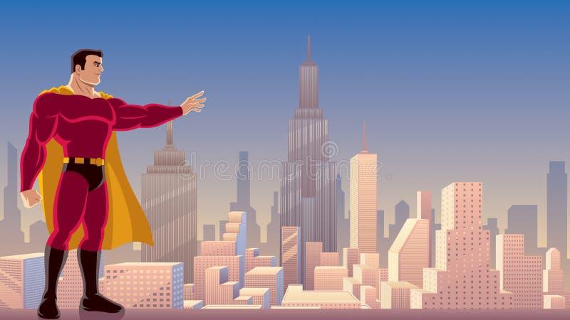 Potere del supereroe in città illustrazione di stock