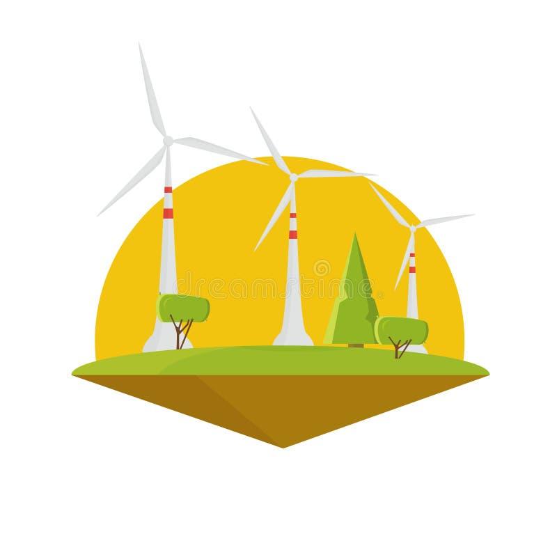 Potere dell'energia eolica Progettazione piana di elettricità della turbina illustrazione vettoriale