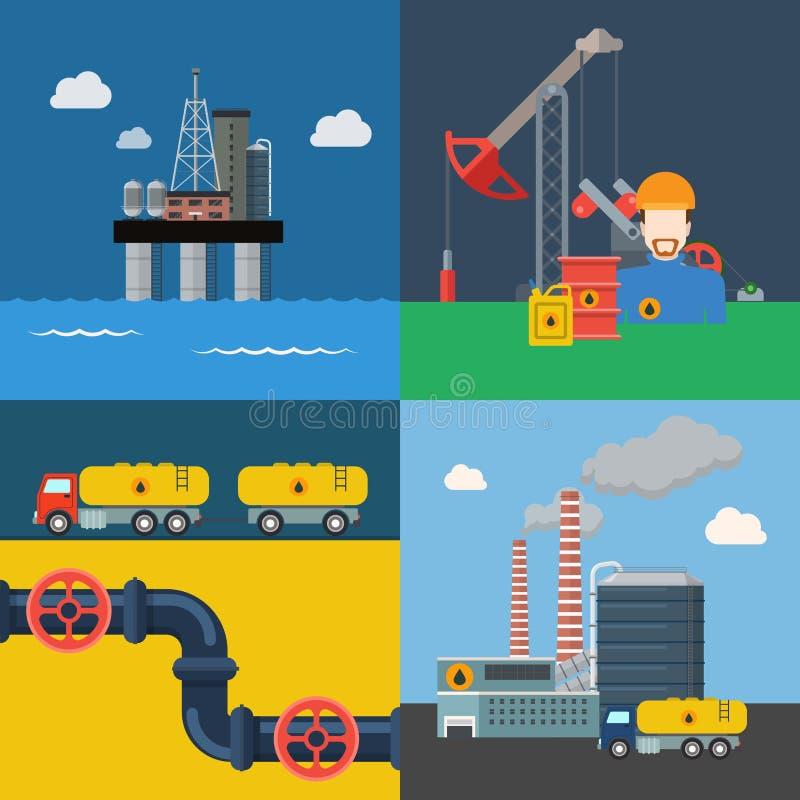 Potere e della raffineria della conduttura di trasporto di estrazione dell'olio illustrazione di stock