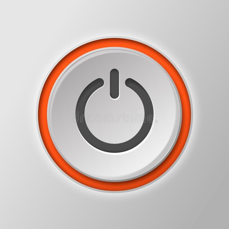 Potere a pulsante isolato su un fondo bianco Illustrazione di vettore royalty illustrazione gratis