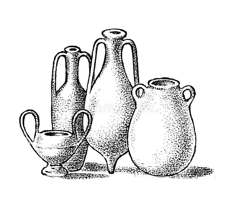 Poterie de la Gr?ce antique Pots ou vases d'argile grecs dans le style antique de cru Croquis gravé tiré par la main de cru pour illustration stock