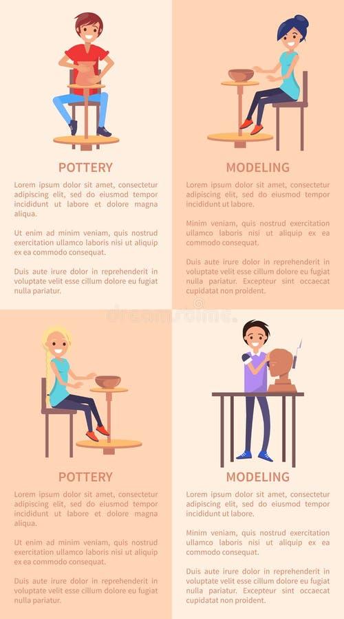 Poterie et affiches de modélisation avec les personnes et le texte illustration stock