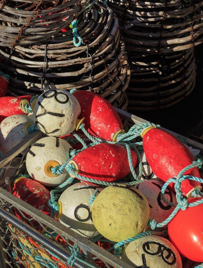 Potes de langosta del cangrejo del sauce con las boyas imágenes de archivo libres de regalías
