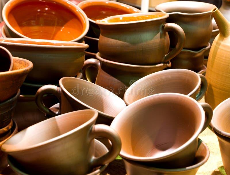 Potes hechos a mano de la cerámica imagen de archivo
